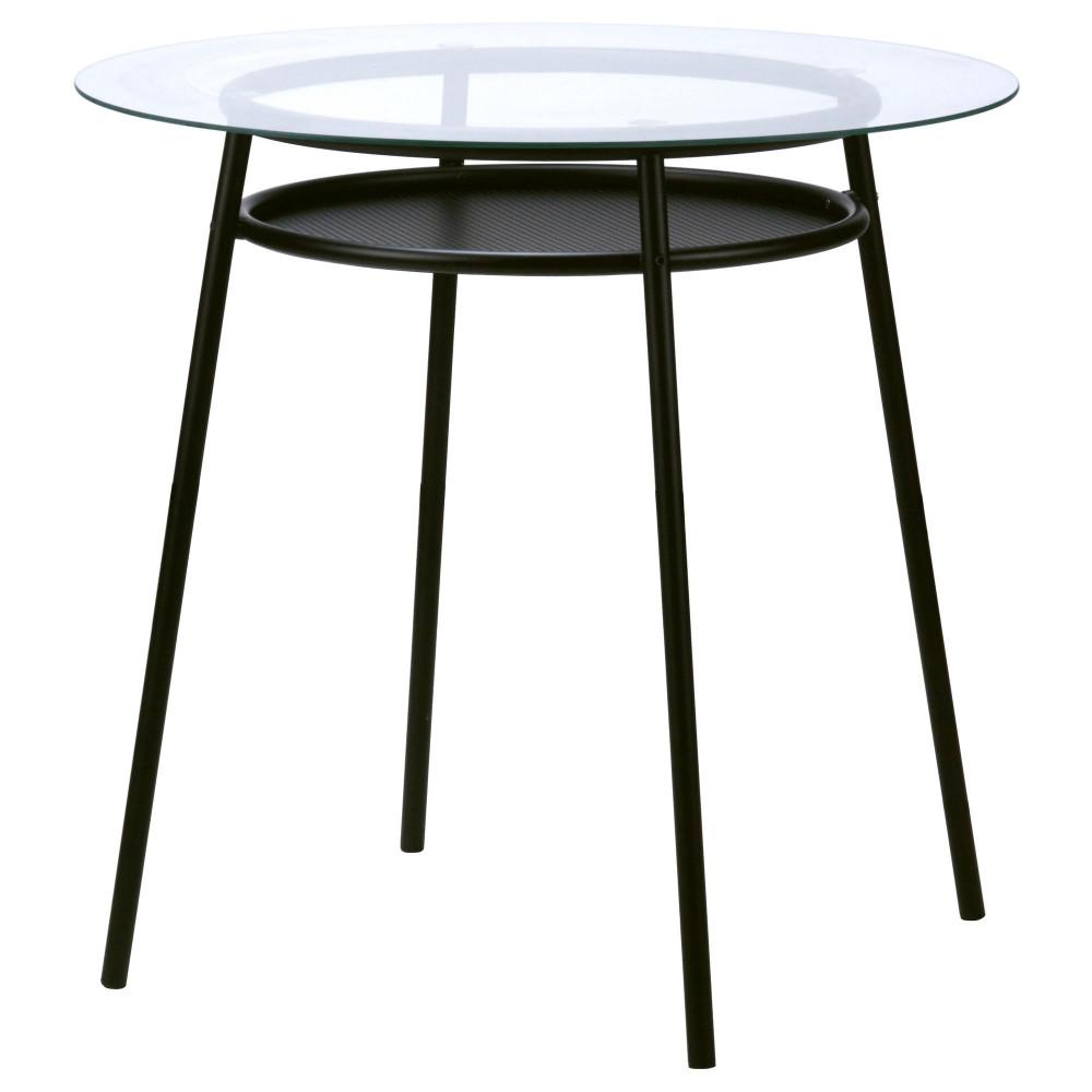 Стол АЛЬСТА стекло, металлический черный  фото 1
