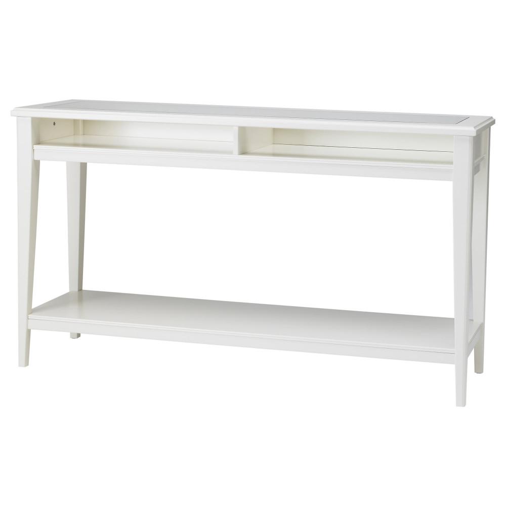 Консольный стол ЛИАТОРП белый, стекло  фото 1