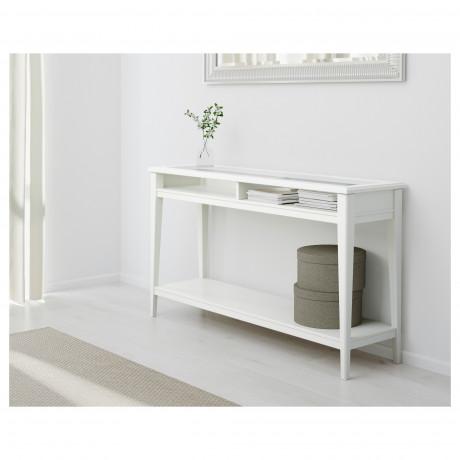 Консольный стол ЛИАТОРП белый, стекло фото 5