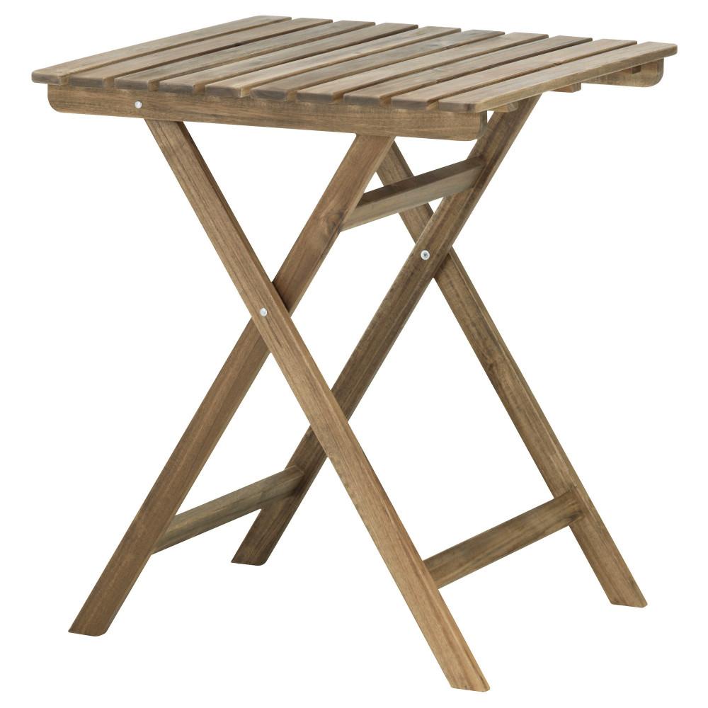 Садовый стол АСКХОЛЬМЕН складной светло-коричневый серо-коричневая морилка  фото 1
