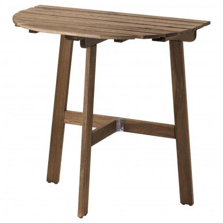 Пристенный стол, садовый АСКХОЛЬМЕН складной светло-коричневый серо-коричневая морилка фото 3