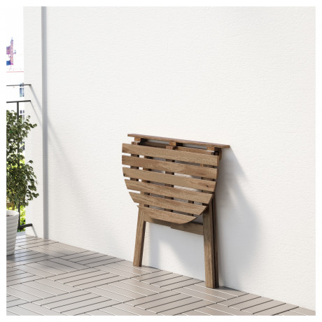 Пристенный стол, садовый АСКХОЛЬМЕН складной светло-коричневый серо-коричневая морилка фото 5