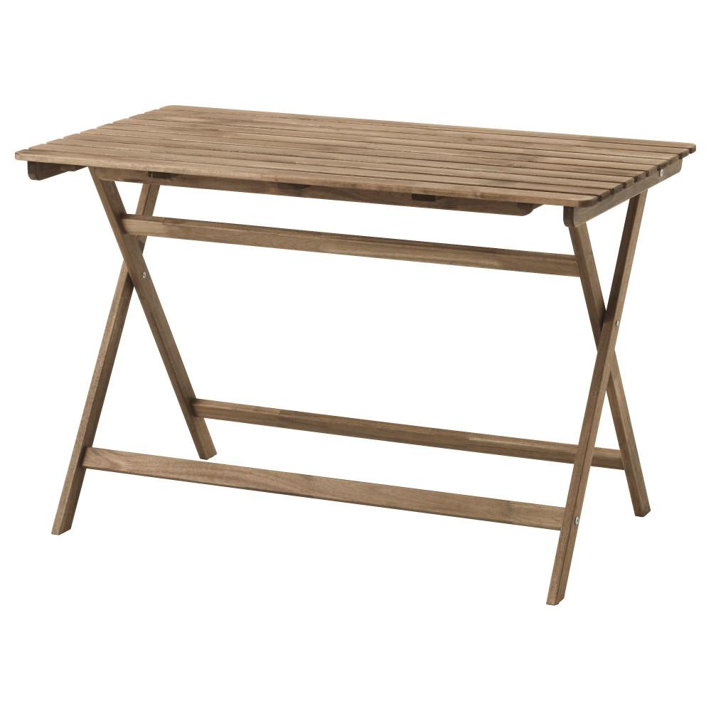 Садовый стол АСКХОЛЬМЕН складной серо-коричневая морилка светло-коричневый  фото 1