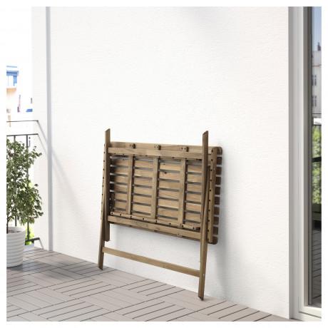 Садовый стол АСКХОЛЬМЕН складной серо-коричневая морилка светло-коричневый фото 4