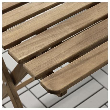 Садовый стол АСКХОЛЬМЕН складной серо-коричневая морилка светло-коричневый фото 5