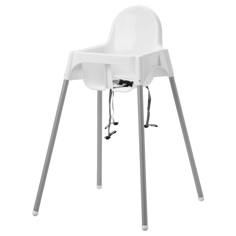 Высок стульчик с ремн безопасн АНТИЛОП белый, серебристый  фото 1