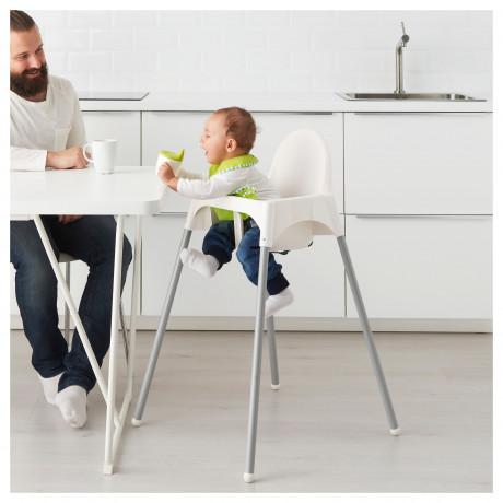 Высок стульчик с ремн безопасн АНТИЛОП белый, серебристый фото 4