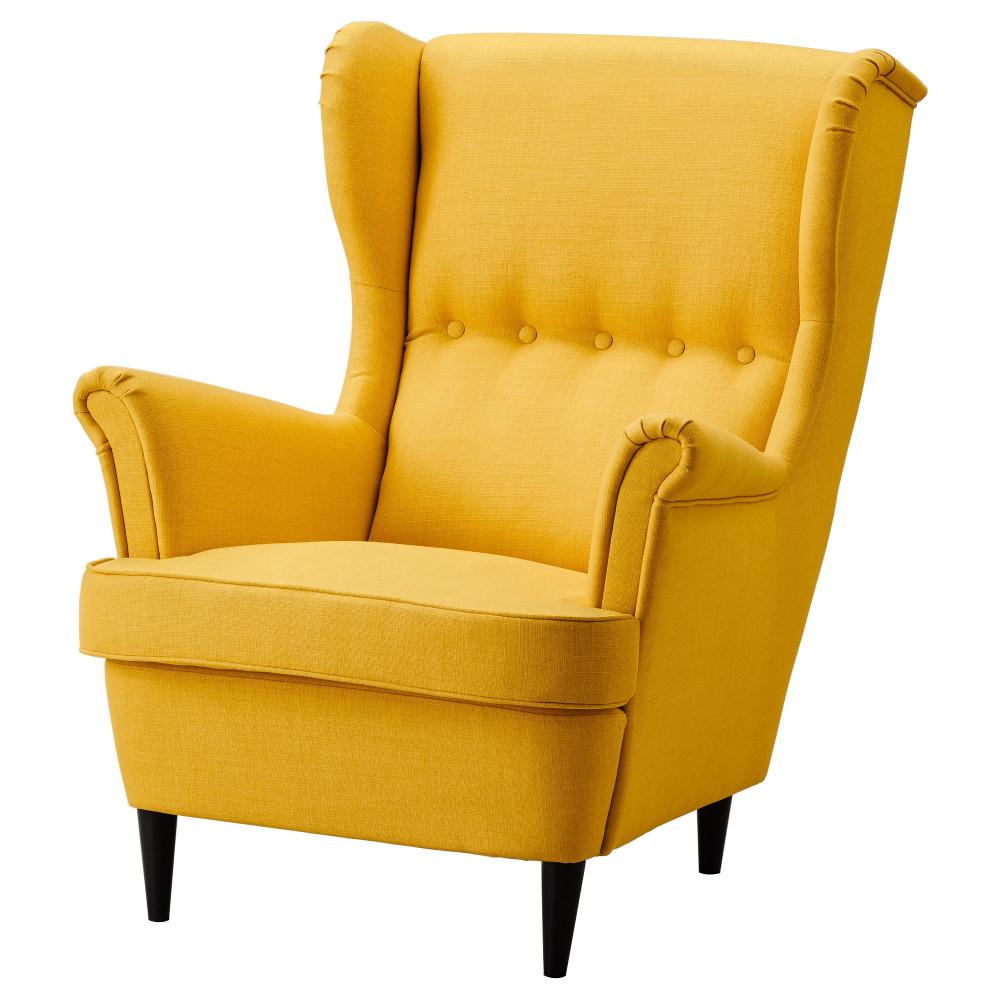 Кресло с подголовником СТРАНДМОН Шифтебу желтый  фото 1