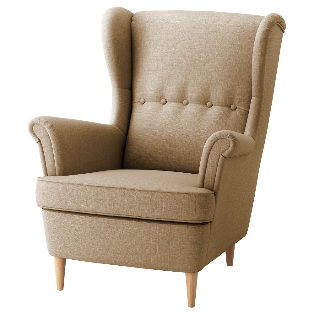 Кресло с подголовником СТРАНДМОН Шифтебу бежевый  фото 1
