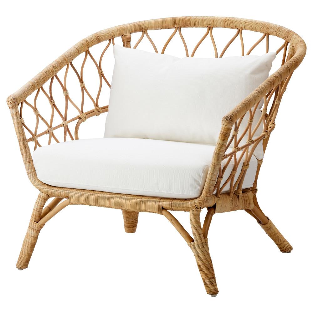 Кресло с подушкой-сиденьем СТОКГОЛЬМ 2017 ротанг, Рёстонга белый  фото 1