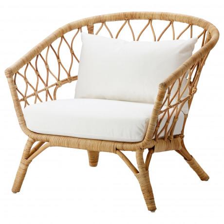 Кресло с подушкой-сиденьем СТОКГОЛЬМ 2017 ротанг, Рёстонга белый фото 3