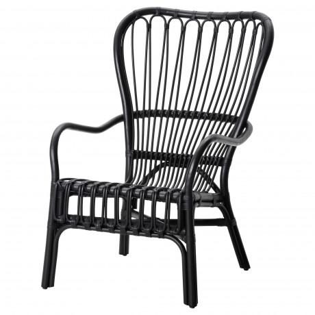 Кресло c высокой спинкой СТУРСЕЛЕ черный, ротанг фото 3