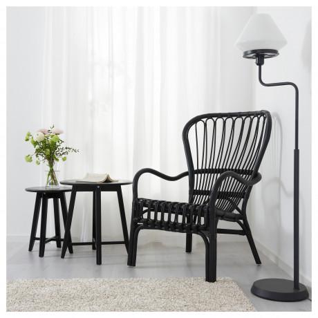 Кресло c высокой спинкой СТУРСЕЛЕ черный, ротанг фото 4