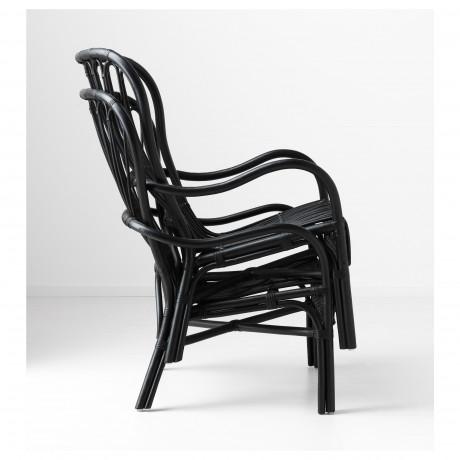 Кресло c высокой спинкой СТУРСЕЛЕ черный, ротанг фото 5