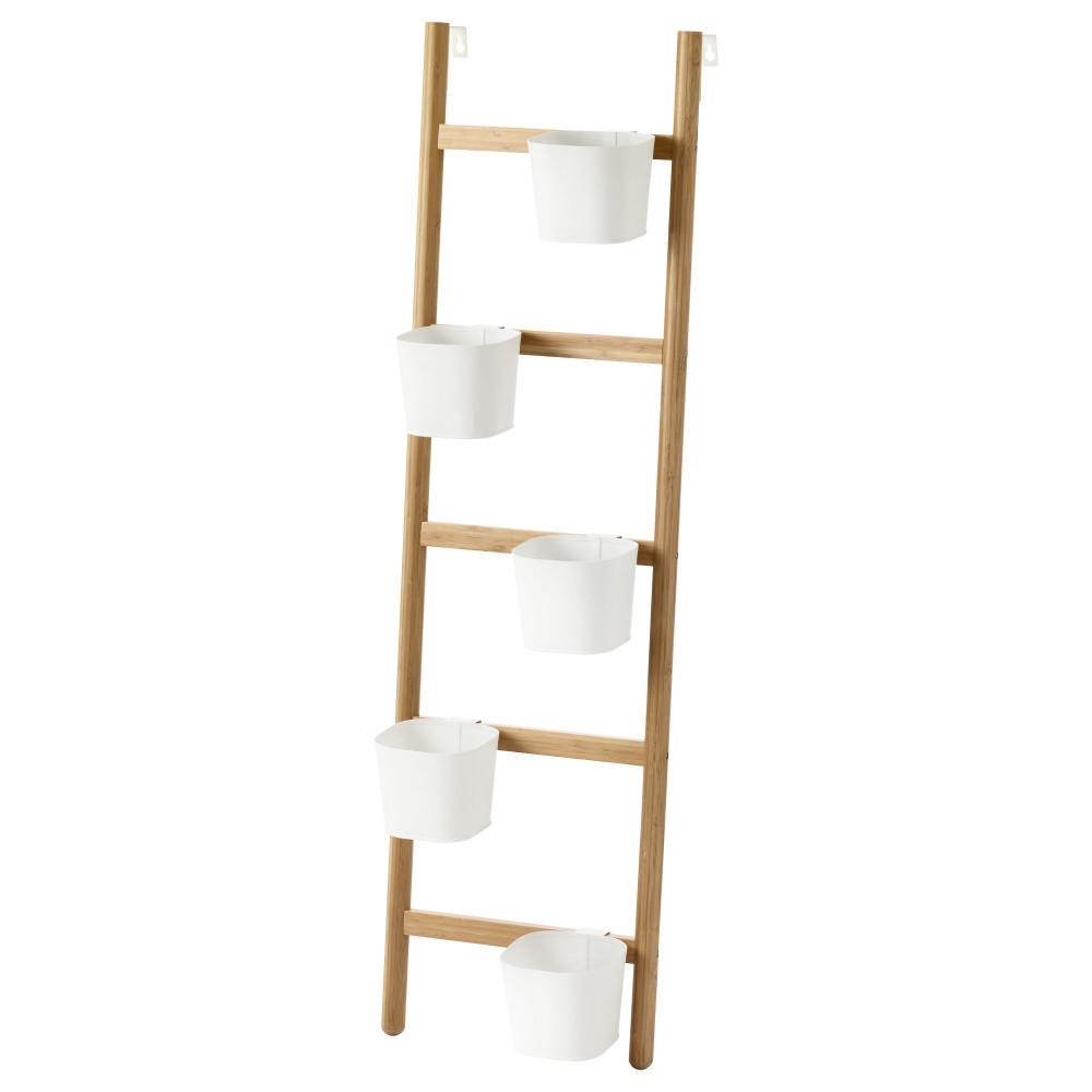Подставка с 5 кашпо САТСУМАС бамбук, белый  фото 1