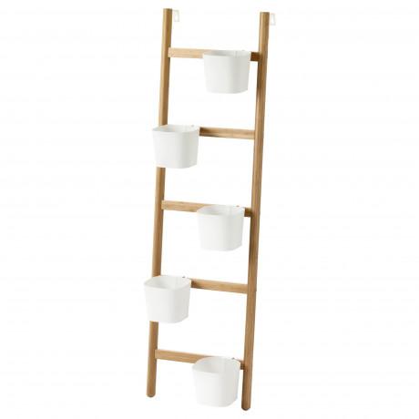 Подставка с 5 кашпо САТСУМАС бамбук, белый фото 3