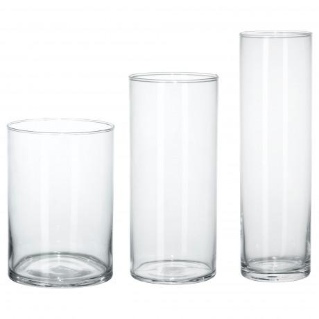 Набор ваз,3 штуки ЦИЛИНДР прозрачное стекло фото 3