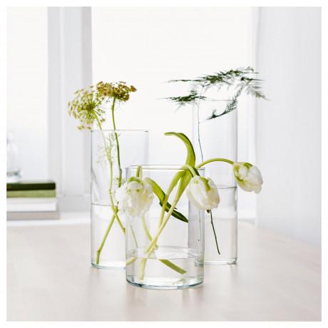 Набор ваз,3 штуки ЦИЛИНДР прозрачное стекло фото 4