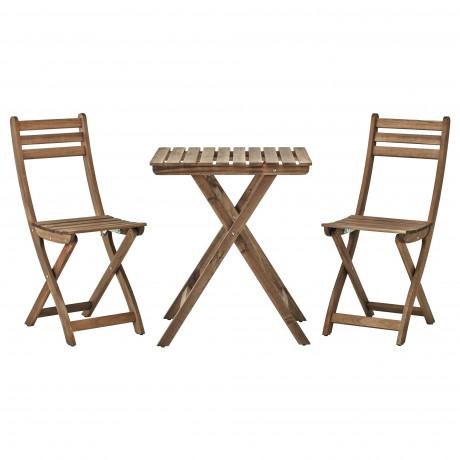 Садовый стол+2 складных стула АСКХОЛЬМЕН серо-коричневая морилка, ФРЁСЁН/ДУВХОЛЬМЕН бежевый фото 4