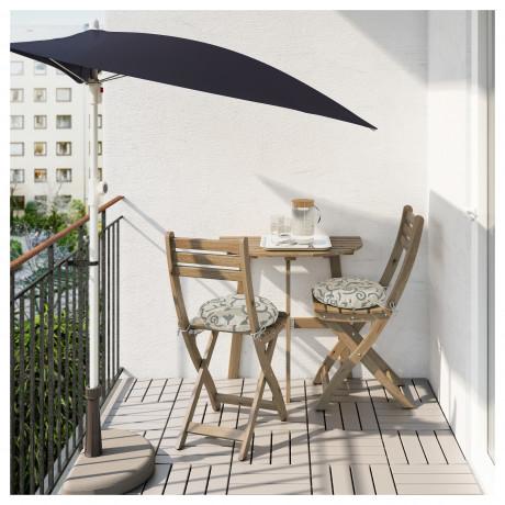 Стол+2 складных стула, д/сада АСКХОЛЬМЕН серый/коричневый, Иттерон синий фото 5