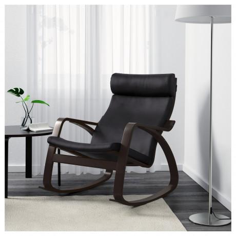 Кресло-качалка ПОЭНГ черно-коричневый, Глосе темно-коричневый фото 5