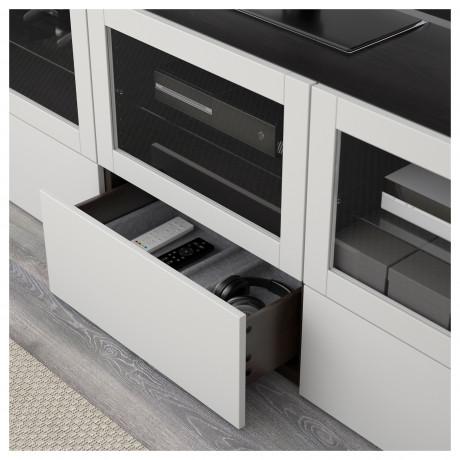 Тумба под ТВ, с дверцами и ящиками БЕСТО под беленый дуб, Вальвикен серо-бирюзовый, прозрачное стекло фото 6