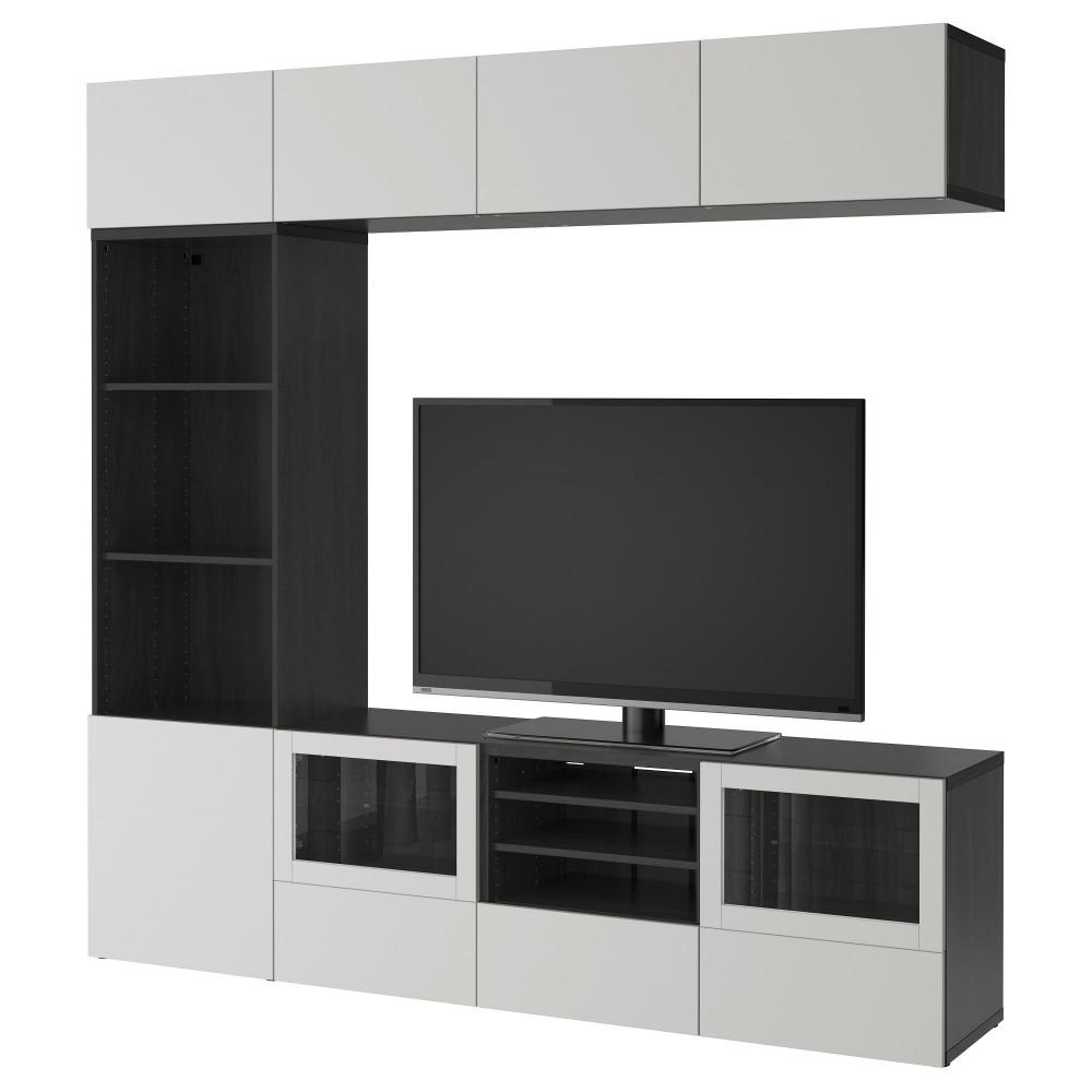 Шкаф для ТВ, комбин/стеклян дверцы БЕСТО черно-коричневый Грундсвикен, темно-серый прозрачное стекло  фото 1