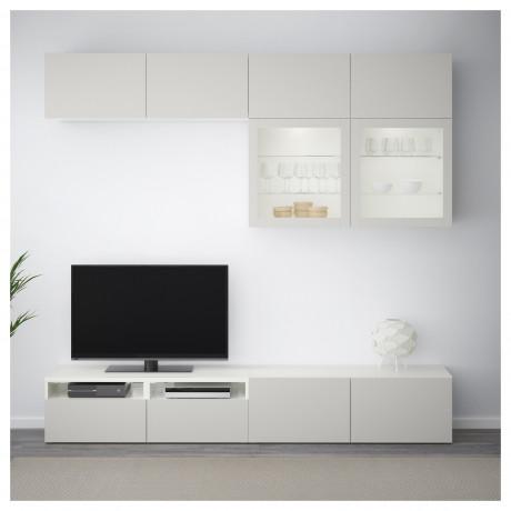 Шкаф для ТВ, комбин/стеклян дверцы БЕСТО Лаппвикен, Синдвик черно-коричневый прозрачное стекло фото 5