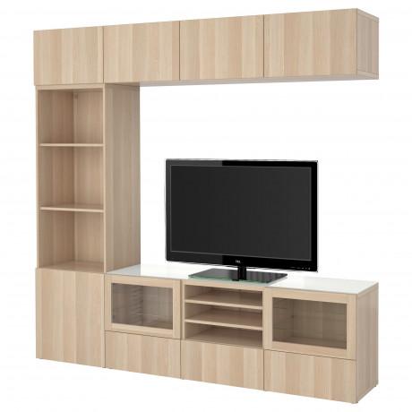 Шкаф для ТВ, комбин/стеклян дверцы БЕСТО Лаппвикен, Синдвик белый прозрачное стекло фото 4