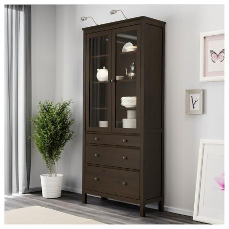 Шкаф-витрина с 3 ящиками ХЕМНЭС белая морилка, светло-коричневый фото 5