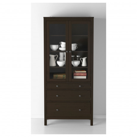 Шкаф-витрина с 3 ящиками ХЕМНЭС белая морилка, светло-коричневый фото 6