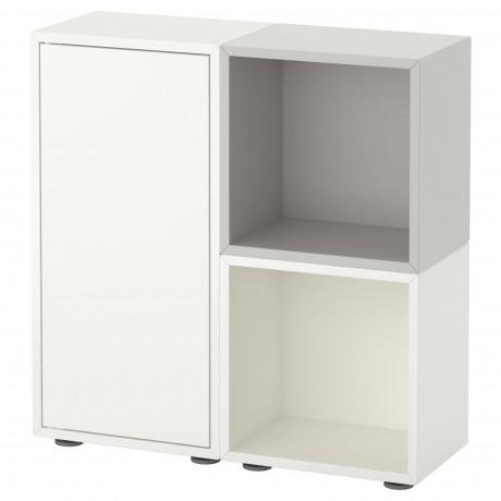 Комбинация шкафов с ножками ЭКЕТ белый/оранжевый, светло-серый фото 4