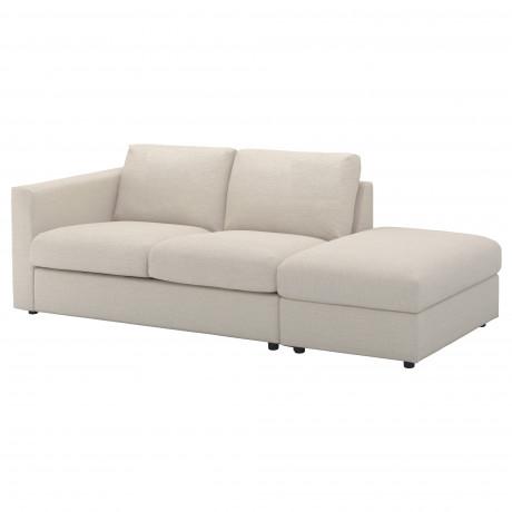 Чехол на 3-местный диван ВИМЛЕ с открытым торцом, Гуннаред классический серый фото 5
