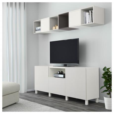 Комбинация для ТВ БЕСТО / ЭКЕТ белый/темно-серый, светло-серый фото 7