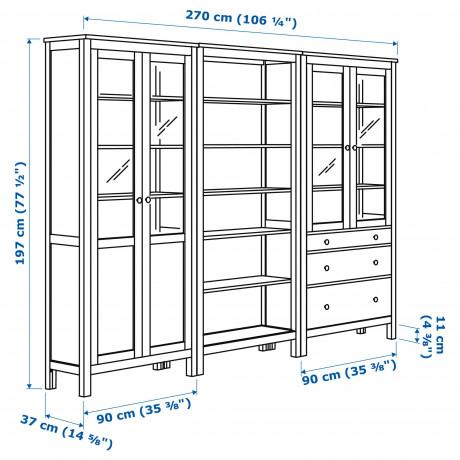 Комб для хран с дверц/ящ ХЕМНЭС белая морилка, стекло фото 5