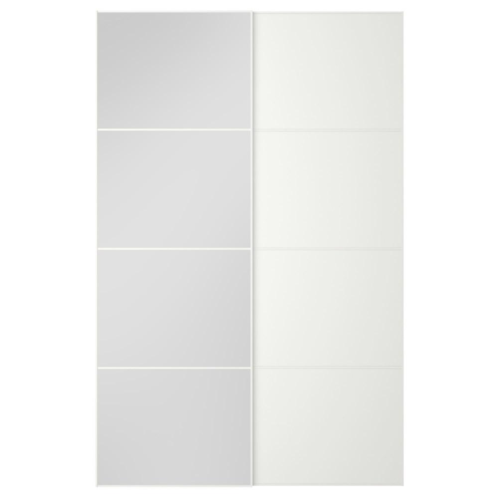 Пара раздвижных дверей АУЛИ / МЕХАМН зеркальное стекло, белый  фото 1