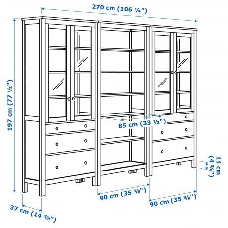 Комб для хран с дверц/ящ ХЕМНЭС светло-коричневый фото 5