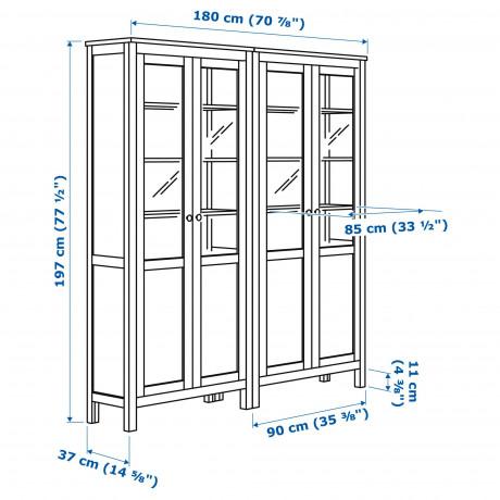 Комбинация д/хранения+стекл дверц ХЕМНЭС белая морилка фото 5