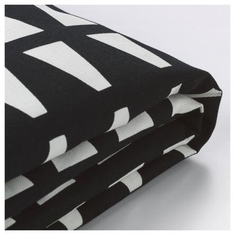 Чехол на 2-местный диван-кровать ЛИКСЕЛЕ Эббарп черный/белый фото 4