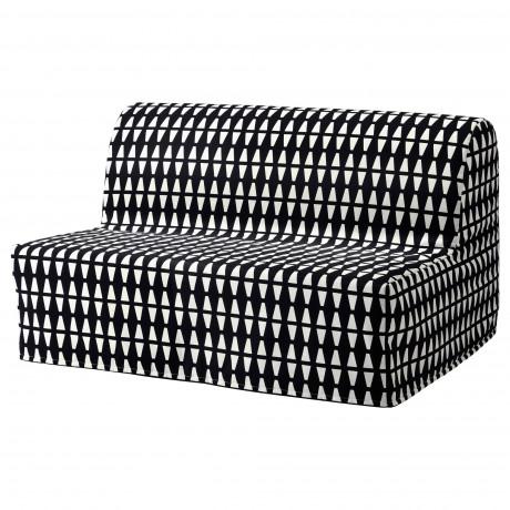 Чехол на 2-местный диван-кровать ЛИКСЕЛЕ Эббарп черный/белый фото 5