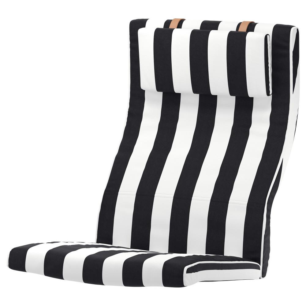 Подушка-сиденье на кресло ПОЭНГ Висланда черный/белый  фото 1
