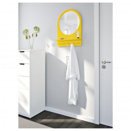Зеркало с полкой и крючками САЛТРЁД белый фото 5