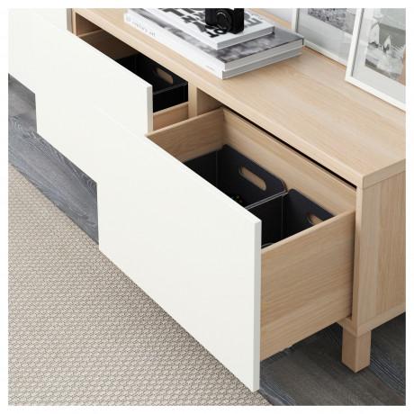 Комбинация для хранения с ящиками БЕСТО под беленый дуб, Лаппвикен белый фото 6