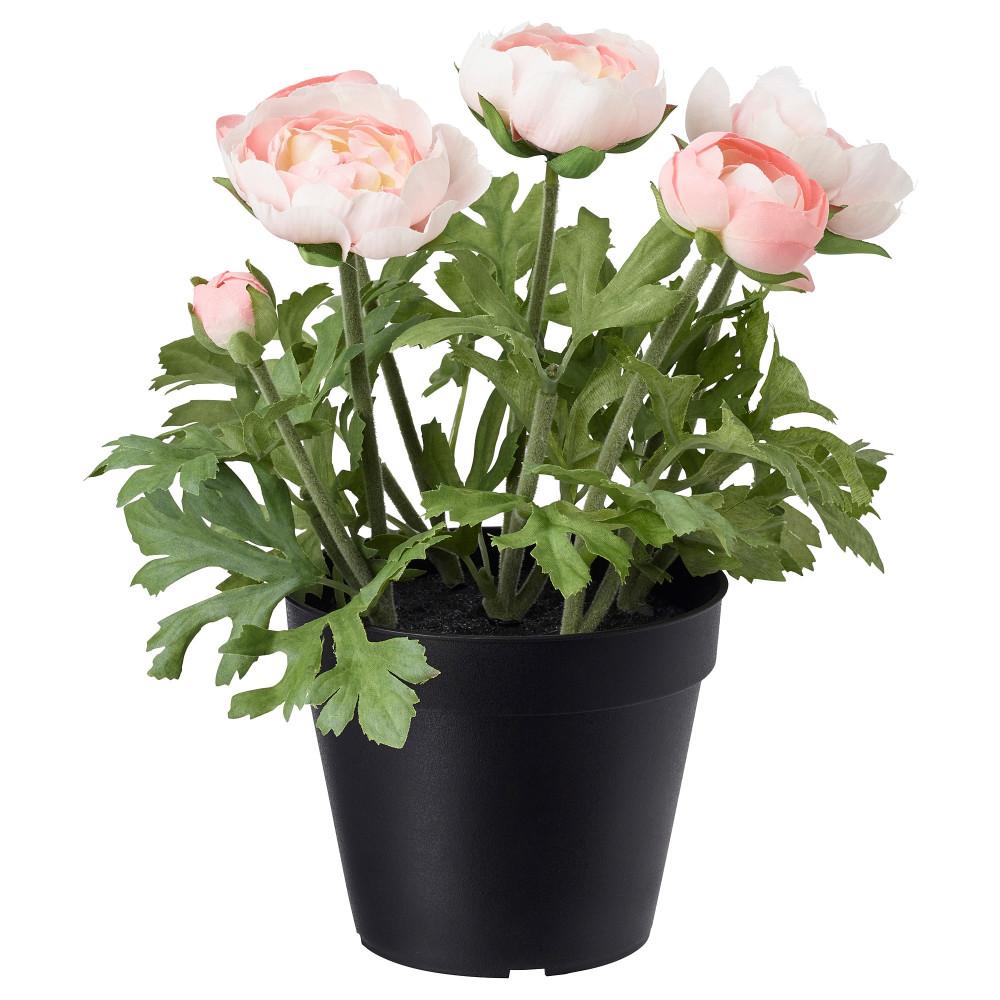 Искусственное растение в горшке ФЕЙКА д/дома/улицы, лютик розовый  фото 1