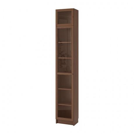 Шкаф книжный со стеклянной дверью БИЛЛИ / ОКСБЕРГ коричневый ясеневый шпон, стекло фото 4