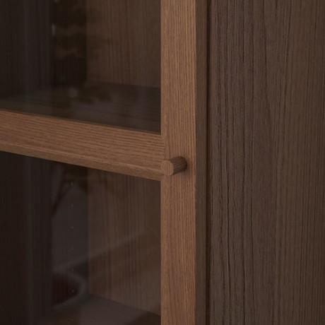 Шкаф книжный со стеклянной дверью БИЛЛИ / ОКСБЕРГ коричневый ясеневый шпон, стекло фото 5