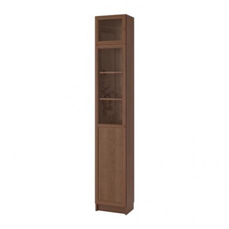 Стеллаж с верхними полками/дверьми БИЛЛИ / ОКСБЕРГ коричневый ясеневый шпон, стекло фото 4