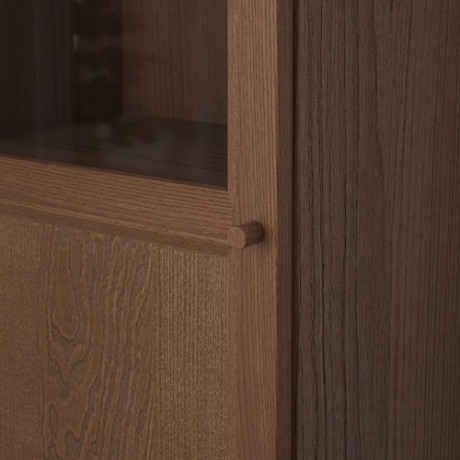 Стеллаж с верхними полками/дверьми БИЛЛИ / ОКСБЕРГ коричневый ясеневый шпон, стекло фото 5