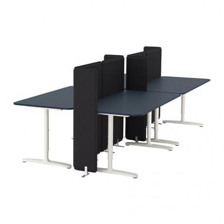 Стол с экраном БЕКАНТ линолеум синий, белый фото 4