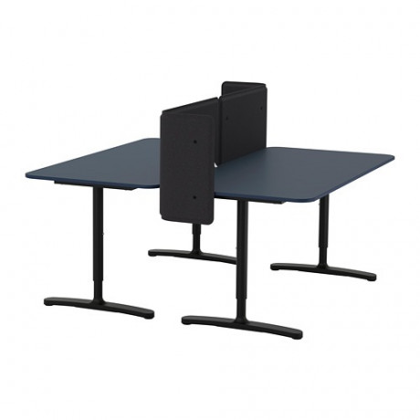 Стол с экраном БЕКАНТ линолеум синий, черный фото 4
